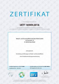 Zertifikat IATF16949:2016