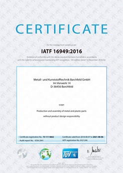 Certificate IATF16949:2016